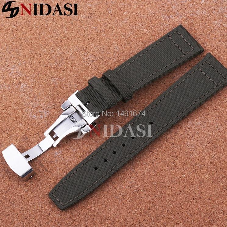 Здесь можно купить  20/21/22 mm New Watchbands,Nylon canvas fabric+Leather buttom,Watch Strap,Silver-Rose-Gold Butterfly Deployment Clasp Top-grade  Часы