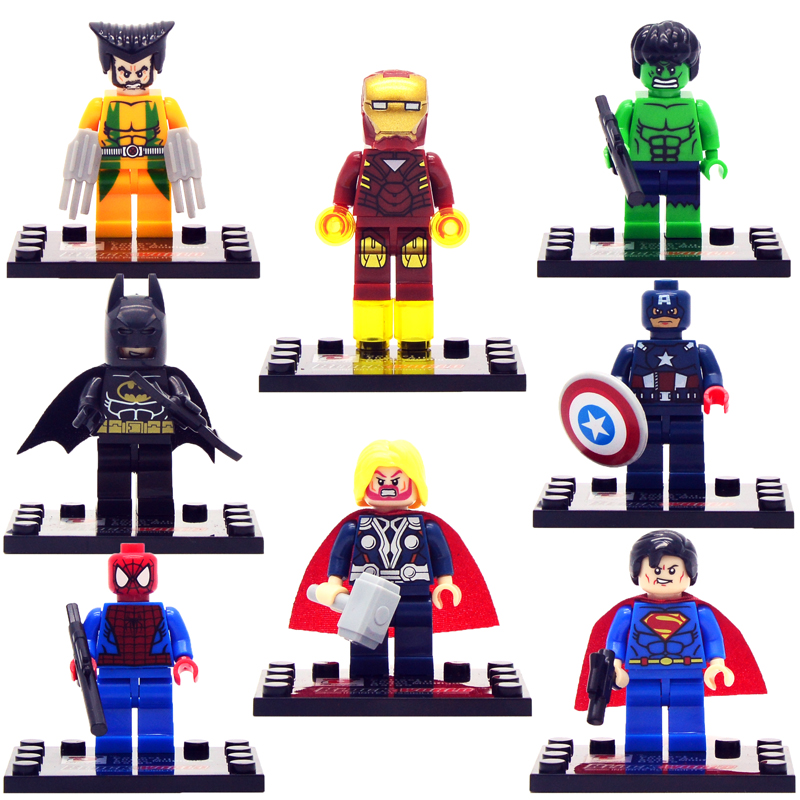 8pcs/lot movie Super Hero Avenger with Weapon Kid Baby Toy Mini Figure Building Blocks Sets Model Toys Minifigures Brick(China (Mainland))