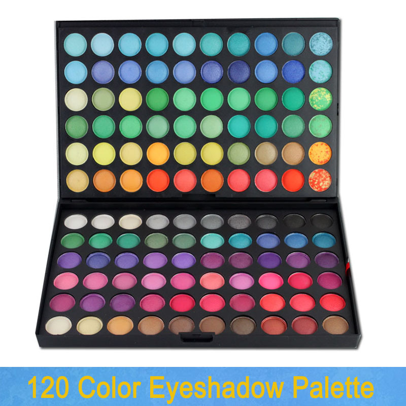 Free Shipping! 120 color double trays matte and shimmer makeup eyeshadow palette 01#, dropshipping!(China (Mainland))