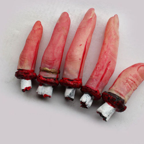 5 Pcs Terrible Severed Fingers Halloween Prop Bloody Chop Body Parts Free Shipping(China (Mainland))