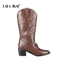 LALA IKAI Frauen Med Platz Heels Stretch Schuhe 2019 Amerikanischen Mid-stiefel Winter Stiefel Weibliche Spitz PU Leder stiefel WC5010-4(China)