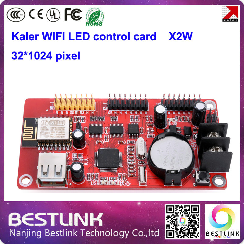 xu2w x2w led controller card supply kaler wifi control card with usb port 32*512 pixel for p10 led sign led display screen board(China (Mainland))