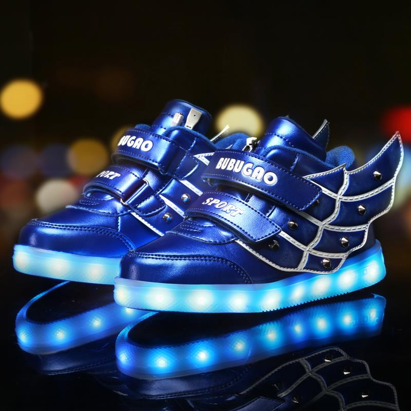 2016 NEW children USB charging sneakers kids LED luminous shoes boys girls flashing lights sneakers Casual Flash Shoes(China (Mainland))