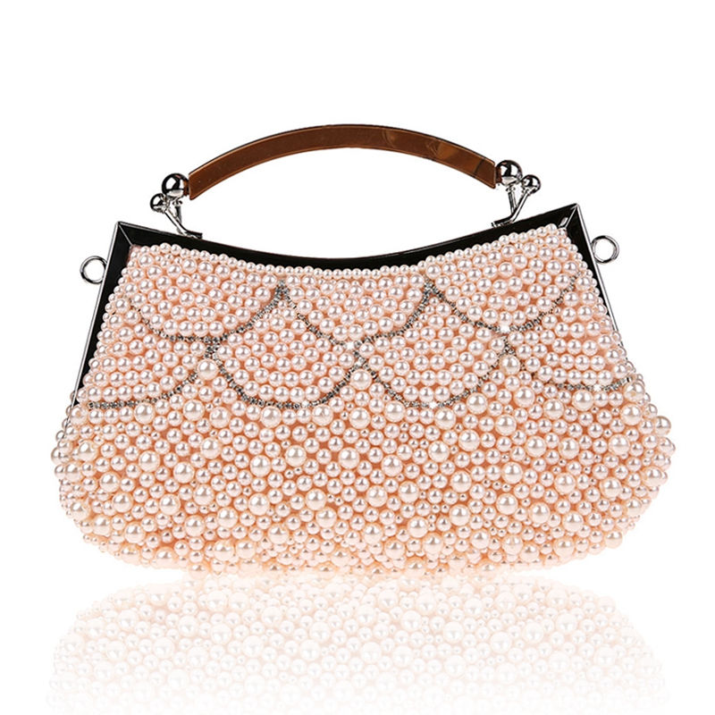Women Pearl Beaded Handbag Diamond Evening Bags Day Clutches Shoulder Messenger Bag Wedding Party Purse Clutch With Handle MX59<br><br>Aliexpress
