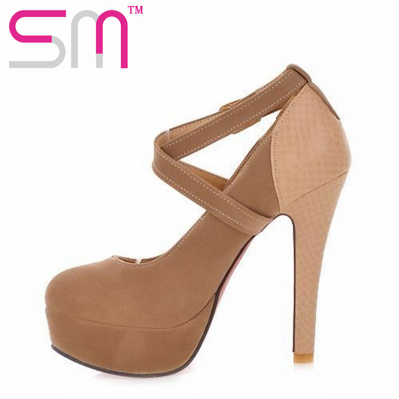 2016 Big size 32-43 Design Women Pumps Gladiator Ankle Straps High Heels Wedding Shoes Hidden Platform Womens Pumps(China (Mainland))