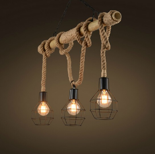 Edison loft style bamboo rope droplight industrial vintage for Old looking light fixtures