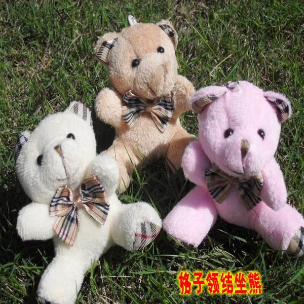 Hot Sale Sit High 9 cm Plaid Bow Teddy Bear Toys Soft Plush Baby Toy Party Bouquets Accessories wedding bouquets 3 Colors 12 pcs(China (Mainland))