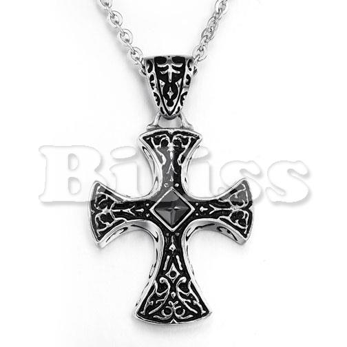 2015 Vintage Mens Stainless Steel Necklace Black Cross Pendant Necklace with Cubic Zirconia For Boys Gifts 50CM Chain include(China (Mainland))