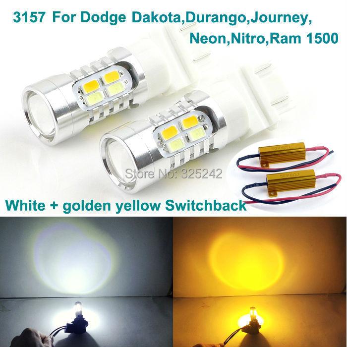 Excellent 3157 Dual-Color Switchback LED DRL+front Turn Signal light For Dodge Dakota,Durango,Journey,Neon,Nitro,Ram 1500<br><br>Aliexpress