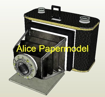 [Alice papermodel]1:1 vintage obscura camera Electronic Products models