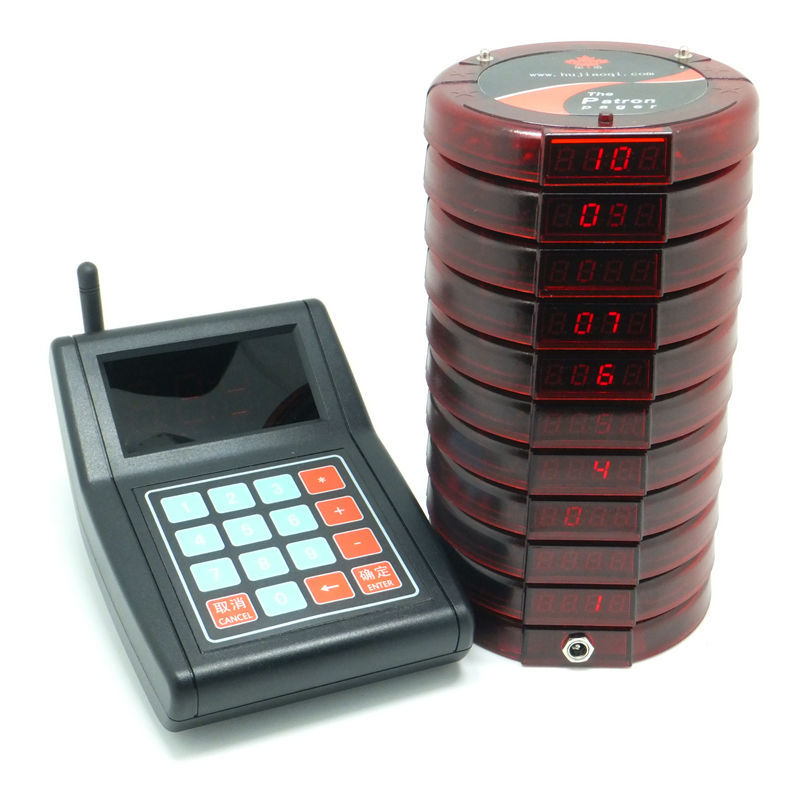 Wireless Coaster Patron Pager With 10 Receivers For
