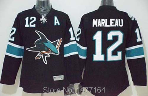 product San Jose Sharks #12 Patrick Marleau Jersey Black Alternate 100% Stitched Premier Mens Ice Hockey Jerseys Shirt Sharks