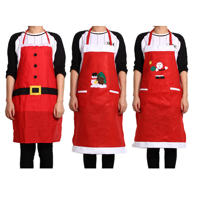 Гаджет  Free Shipping Christmas Kitchen Bar Creative Red Christmas Applique Aprons K5BO None Дом и Сад