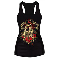 3D Digital Summer Sexy Womens Printed Tank Tops  Gothic Punk Clubwear