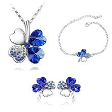 High fashion crystal clover three-piece suit Sautoir bracelet earrings Women fashion accessories wholesale 090 + 141 + 183(China (Mainland))