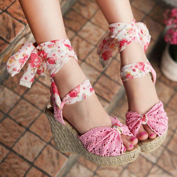 Women Shoes Freeshipping 2015 Ladies High Heel Sandals,Summer Women's Open Toe lace cross straps platform Beach Sandals - Pink beautiful Girl store