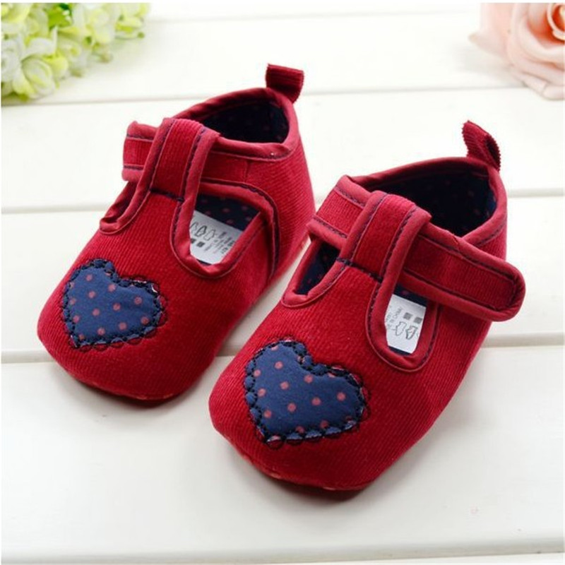 S282 red soft Baby Shoes with blue heart soft sole baby ...