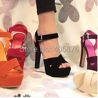 Free shipping NEW high heel sandals fashion women dress sexy shoes slippers  hot sale EUR size 34-43(China (Mainland))