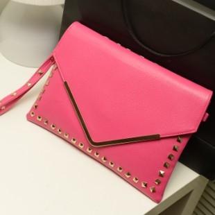 new fashion shopping 2015 candy color female bag rivets envelope wristlets day clutch rivet one shoulder women's handbag(China (Mainland))