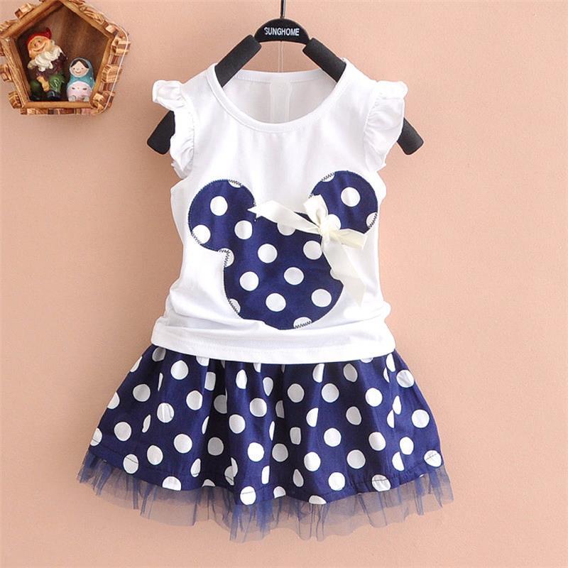 2Pcs/set Cute Toddler Baby Girls Kids Princess dresses Party Cartoon Mouse Red Dot Dresses Mini Dress baby girl clothing set Y3(China (Mainland))
