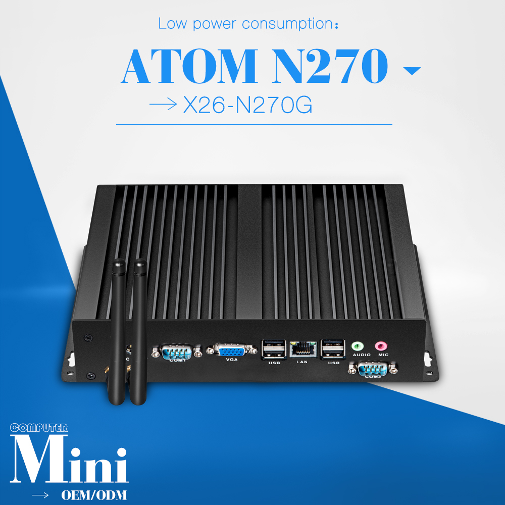 smaller space, energy ATOM mini pc for N270 2g ram 320g hdd 2*RS-232, 8*usb with 12v power adapter support Ubuntu Linux 12.04(China (Mainland))