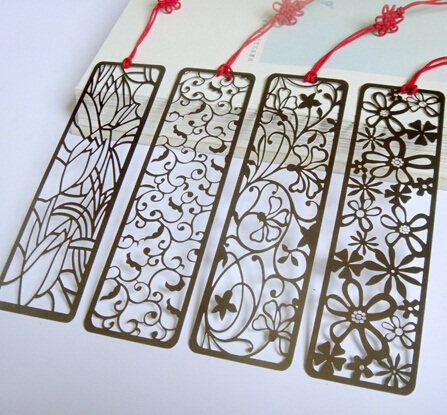 1pcs/lot NEW Japan vintage Hollow Flower series Stainless steel bookmark Metal book line retail(China (Mainland))