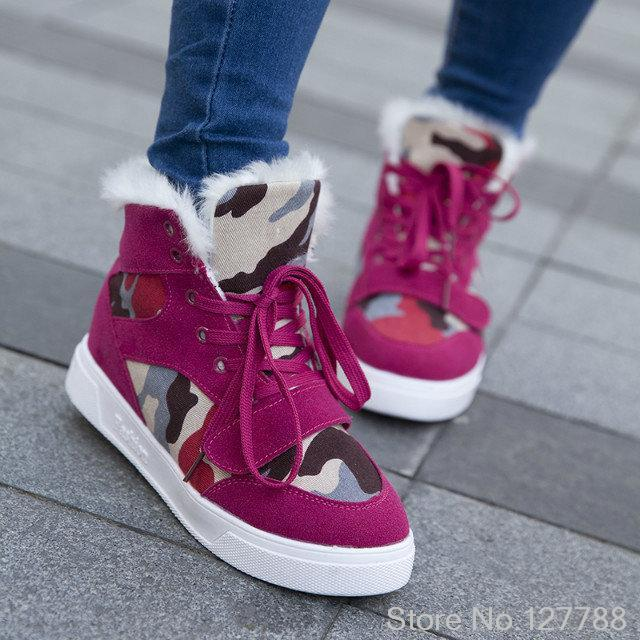 2014 autumn and winter camouflage canvas shoes increased with flat shoes and cotton warmth within the new high-top shoes B795<br><br>Aliexpress