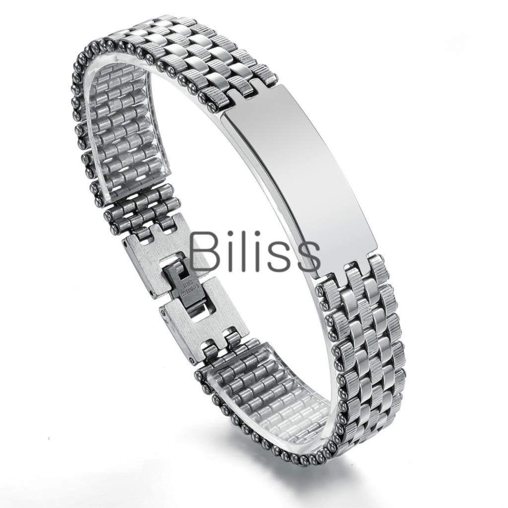 Fashion 316L Stainless Steel Chain Link Man Bracelet Male Jewelry pulseira de prata Men's ID Bracelets 21cm*10mm(China (Mainland))