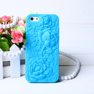 Top Fashion 3D Hollow Carved Roses Peonies Cell Phone Luxury Silicone back Cases For Apple iphone 4 4S 4G 5 5S 5G 5SE Case Cover(China (Mainland))
