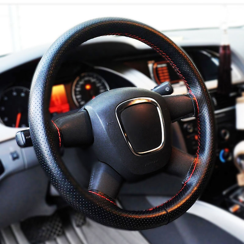 New Universal PU Leather DIY Car Steering Wheel Cover Case With Needles Black/ Red Color Thread(China (Mainland))