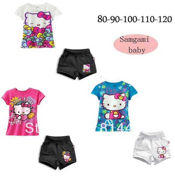 Free shipping (5 pieces/lot) Children girls Hello Kitty suit cotton 2 pieces Sets Children T-shirt + shorts(China (Mainland))