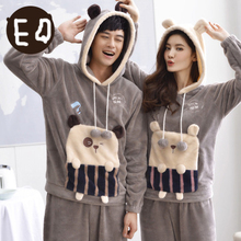 Free Shipping New arrive Winter Full Sleeve Flannel Velvet Lovers Grey Colour Warmth Housewear Sets(China (Mainland))
