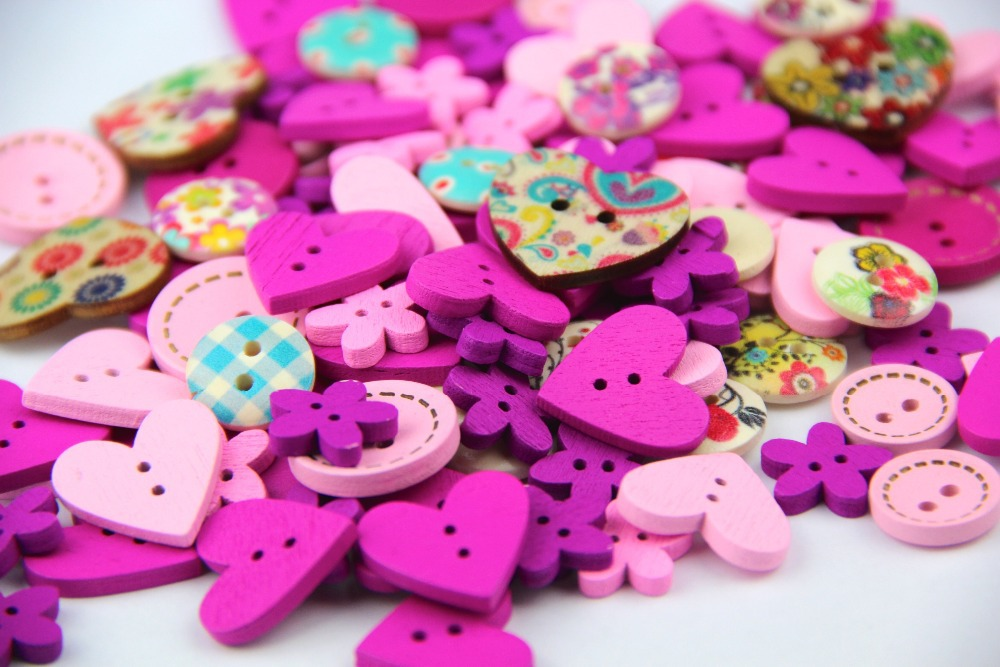 15mm DIY 2 holes wooden buttons pink and purple color mix shapes scrapbook clothes wood button for craft sewing scrapbooking(China (Mainland))
