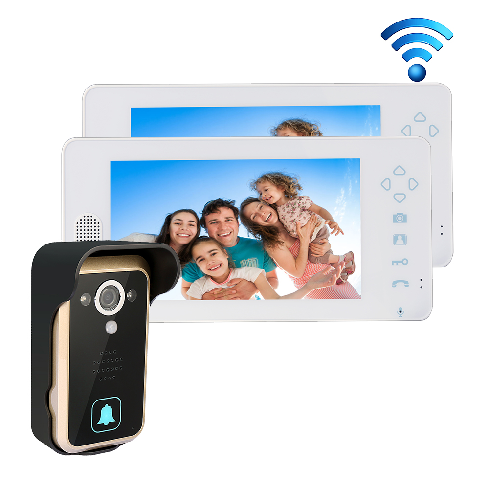 """Free Shipping 2.4GHZ Wireless 7"""" Touch Color TFT LCD Video Intercom Door Phone 1 Waterproof Doorbell Camera + 2 White Monitors(China (Mainland))"""