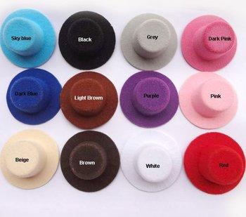 5.5cm 24pcs/lot Free Shipping Hen Party Plain Mini Top Hat. Cute Hat for DIY hair clip. 12 colors Hair accessories