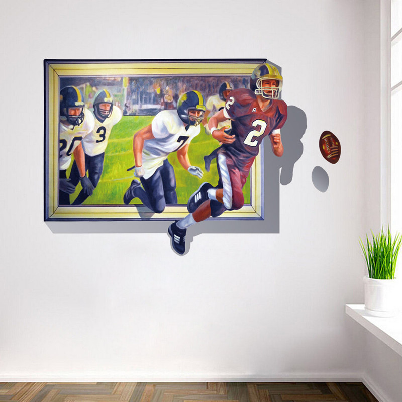 Modern 3d Wall Stickers Home Decor Living Room Bedroom Decorative Windows Football Stickers