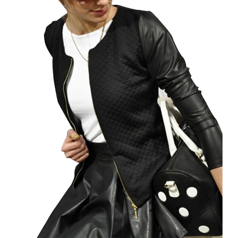 Zipper Womens Winter Jackets and Coats 2015 Slim Causal PU Leather Jacket Color Patchwork Women Coat Cardigan Casaco FemininoОдежда и ак�е��уары<br><br><br>Aliexpress