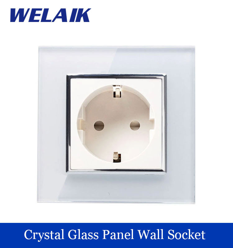 WELAIK EU Wall Socket European Standard Power socket Wall Outlet White Crystal Glass Panel AC 110~250V 16A  A18EW