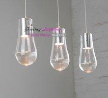 Free Shipping 3 Light Hot Selling Anta-Drop,Waterdrop Modern Transparent/Clear Glass Pendant Light ,Fashion Fixture(China (Mainland))
