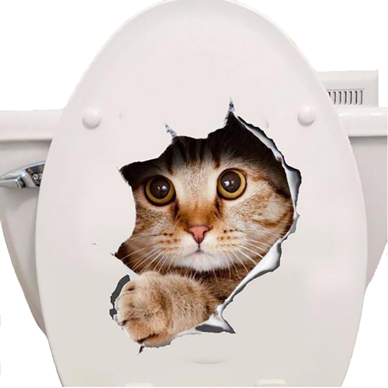 3d Cats Wall Sticker Toilet Stickers Hole View Vivid Dogs Bathroom Room Decoration Animal Vinyl Decals