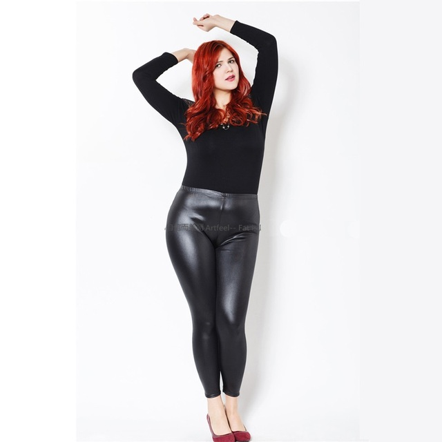 Plus Size Pu Leggings