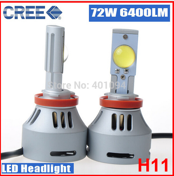 1set H11 72W 6400LM 6000K CREE LED Headlight Lamp for all cars 3200LM CREE H7 H8 H9 H11 9005 9006 LED Car AutoHead Light(China (Mainland))