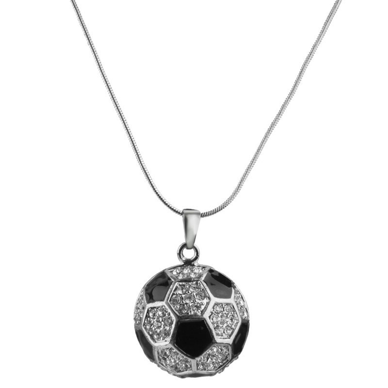1 pcs High Quality Silver Black Football Soccer Shape Pendant Necklace Chain Jewelry Pretty Girl Good Gift(China (Mainland))