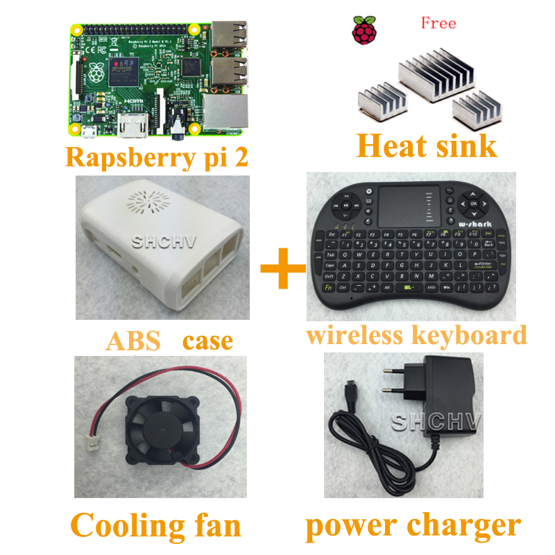 UK production Raspberry Pi 2 model B+ ABS case +heat sink+cooling fan+5V 2A Power charger + 2.4g wireless keyboard(China (Mainland))