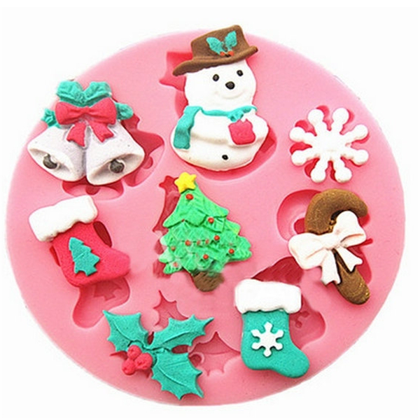 Гаджет  1 pcs Silicone  Fondant Cake Mould DIY Decorating Tools Round  Silicone Pink Christmas Style Snowman Christmas tree Cake Mold  None Дом и Сад