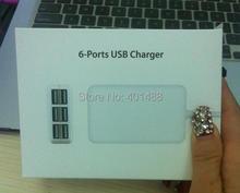 Wholesale 30W 6xUSB Ports Desktop Wall Charger w/ 4.9ft Power Cord for Mobiel Phone Tablet US /EU /AU plug(China (Mainland))