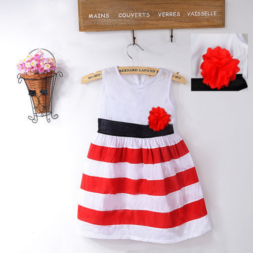 Details about Baby Girls Flower Red&White Stripe Christmas comforter Princess Vest Dress(China (Mainland))