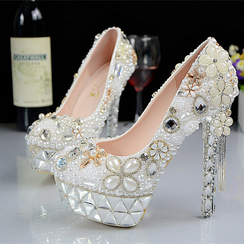 Princess Pearl Rhinestone Wedding Shoes Stiletto Platform Crystal Flower Bridal Shoes Bridesmaid