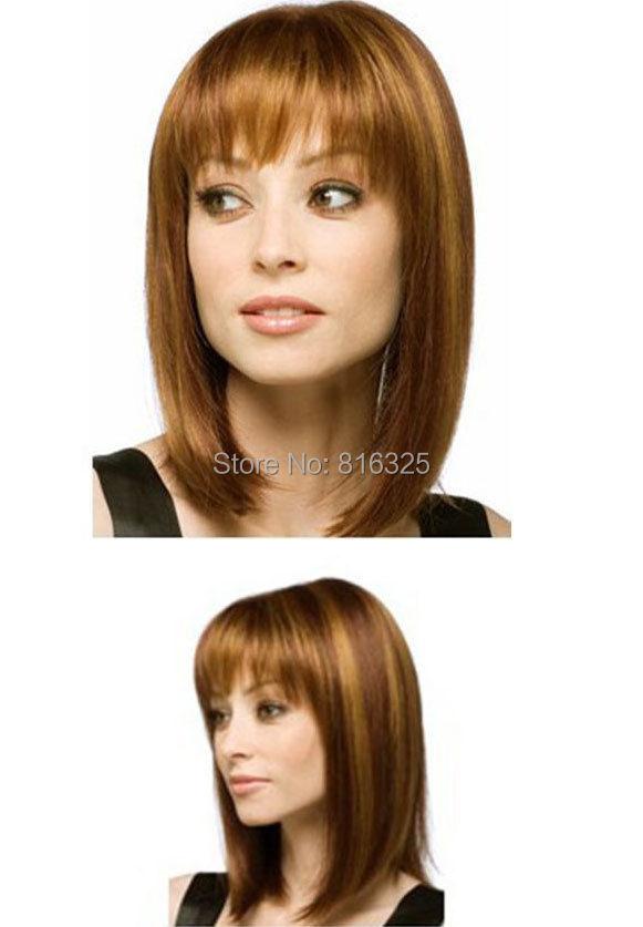 FREE P&P>>>>> medium fine style brown straight wigs women hair(China (Mainland))