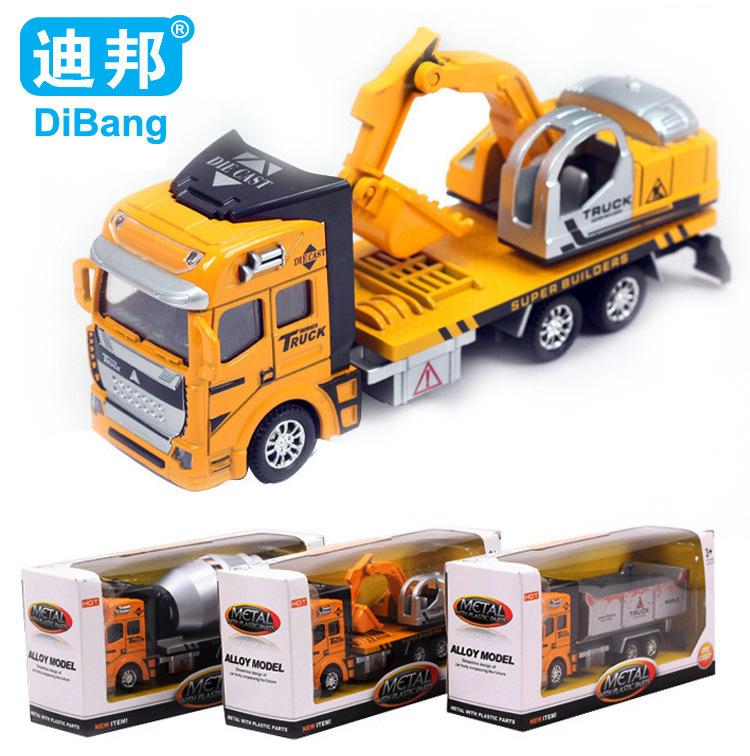 1:48 Pull Back Model Car Excavator Transport Truck Asphalt Stirrer Alloy Metal & Plastic Toy Cars Children Kids Gift for Boys(China (Mainland))
